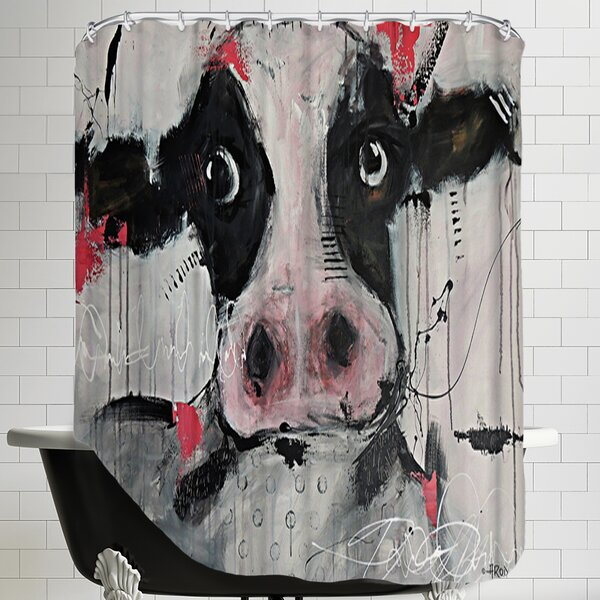 Cow Pink Shower Curtain by East Urban Home
