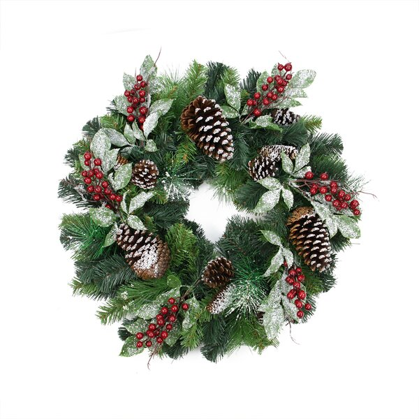 Pre-Decorated Frosted Pine Cone and Berry Artificial Christmas Wreath by Northlight Seasonal