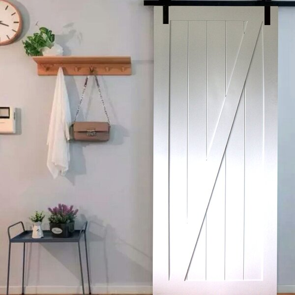 Z-Rail Solid Wood Panelled Core Pine Slab Interior Barn Door by Kimberly Bay