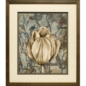 Tulip and Wildflowers I by Jennifer Goldberger Framed Graphic Art in Beige/Gray by North American Art