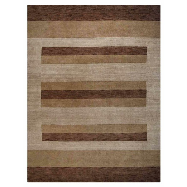 Vanda Hand-Knotted Wool Brown Area Rug by World Menagerie