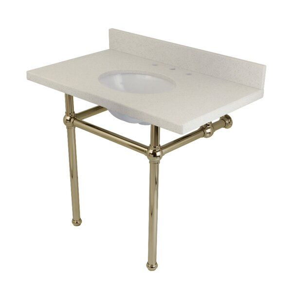 Templeton White Quartz Rectangular Undermount Bathroom Sink with Overflow by Kingston Brass