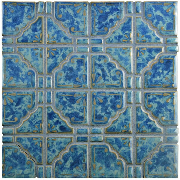 Moonlight Random Sized Porcelain Mosaic Tile in Pacific Blue by EliteTile