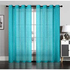 Geometric Semi-Sheer Grommet Curtain Panels (Set of 2)