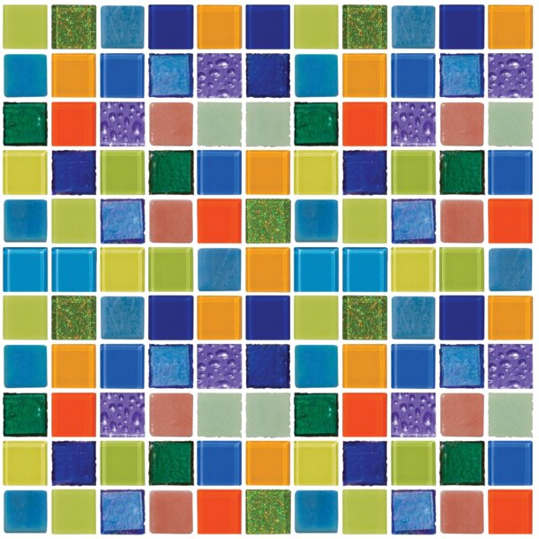 Signature Line Matisse 1 x 1 Glass Mosaic Tile in Green/Blue by Susan Jablon