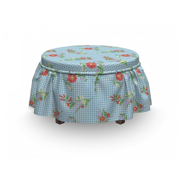 Vibrant Blossoms On Tartan Ottoman Slipcover (Set Of 2) By East Urban Home
