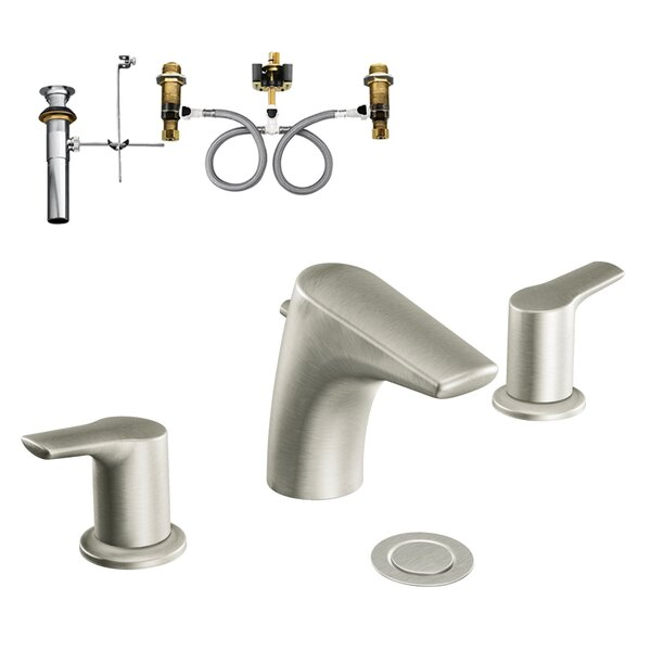 Method 2-Handle Low-Arc Lavatory Widespread Bathroom Faucet with Drain Assembly by Moen Moen