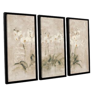 3 Piece Set White Dancing Orchids Framed Painting Print on Canvas by Ophelia & Co.