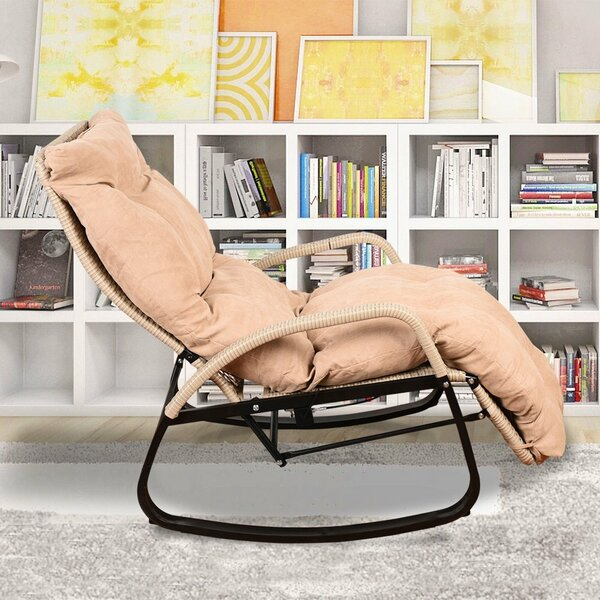 Nibbi Indoor Rocking Chair Reclining Chaise Lounge with Cushion