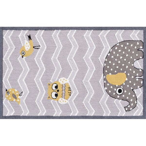 Gray/Purple Elephant and Bird Area Rug by The Conestoga Trading Co.