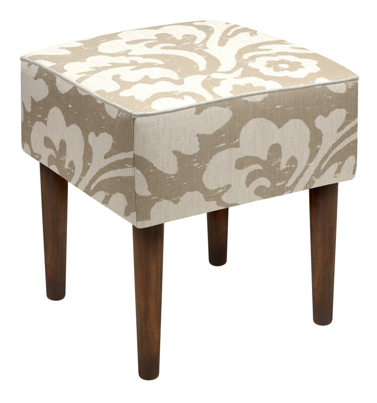 123 Creations Jacobean Floral Upholstered Vanity Stool