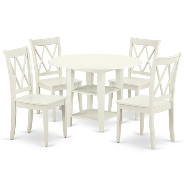 Lampley 5 Piece Drop Leaf Solid Wood Dining Set by August Grove
