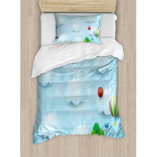 Nursery Room with Balloons Clouds Stars on the Hillls Cartoon Duvet Cover Set By East Urban Home