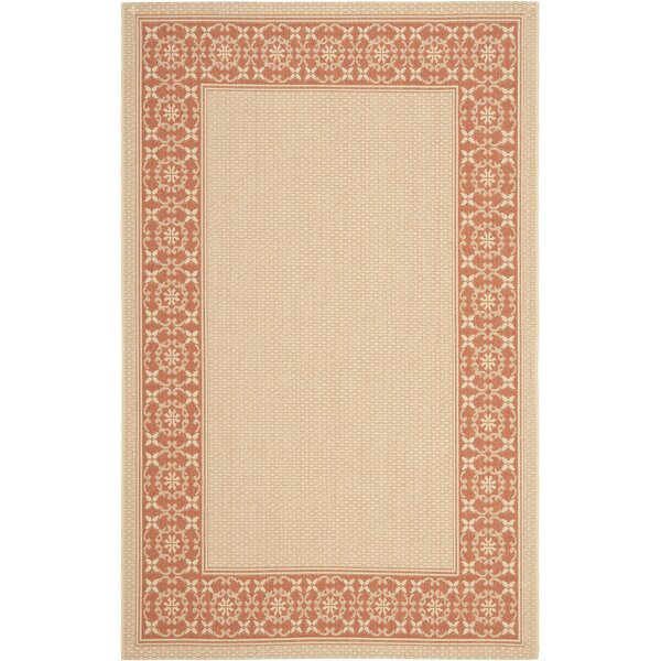 Amaryllis Cream/Terracotta Indoor/Outdoor Rug by Bay Isle Home