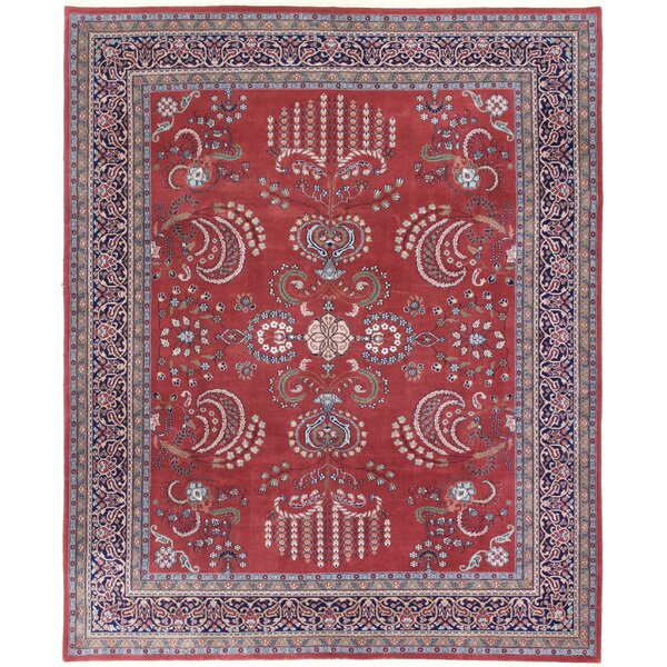 One-of-a-Kind Edda Indo Sarouk Hand-Knotted Wool Rust/Navy Area Rug by Astoria Grand