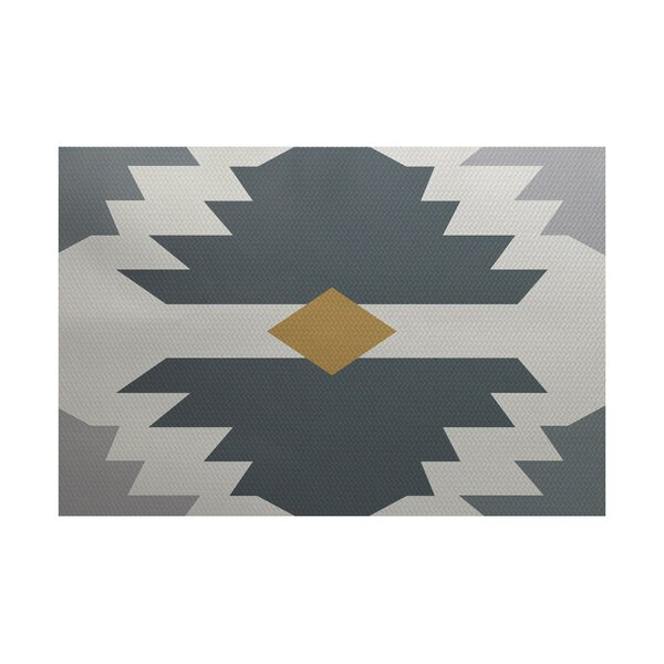 Jools Geometric Print Gray Indoor/Outdoor Area Rug by Ivy Bronx