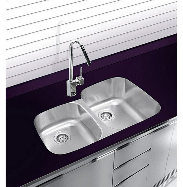 32 L x 21 W Double Basin Undermount Kitchen Sink with Grip and Board by Ukinox