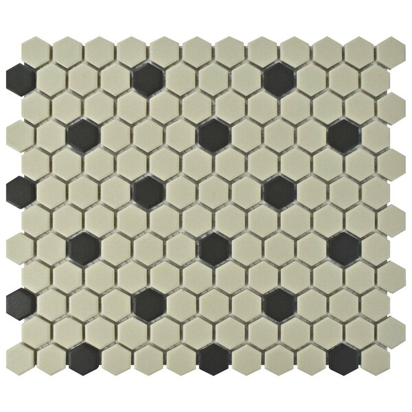 New York Hexagon 0.875 x 0.875 Porcelain Unglazed Mosaic Tile in Antique White/Black by EliteTile