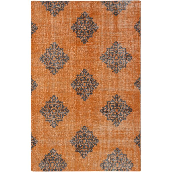 Ritesh Damask Burnt Orange Area Rug by Bungalow Rose