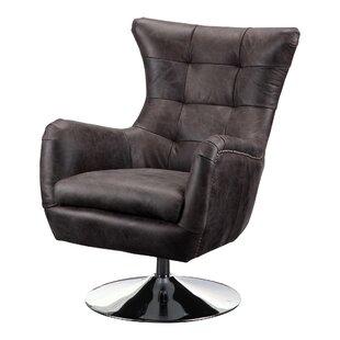 Brochu Leather Swivel Balloon Chair