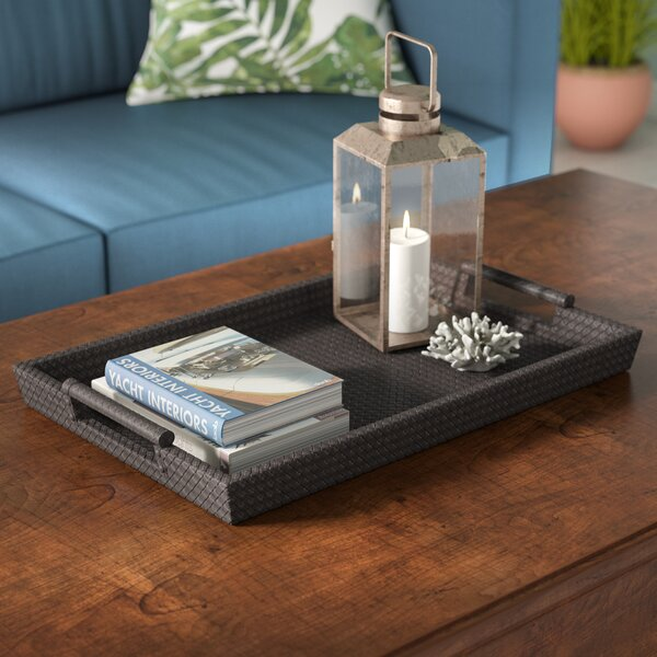 Yara Leather Tray in Brown by Beachcrest Home