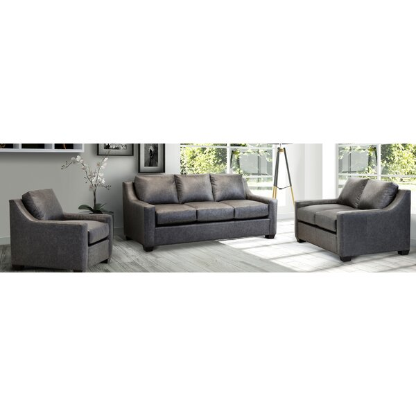 Bourdeilles Distressed Grey Top Grain Leather Sofa, Loveseat And Chair by Ebern Designs Ebern Designs