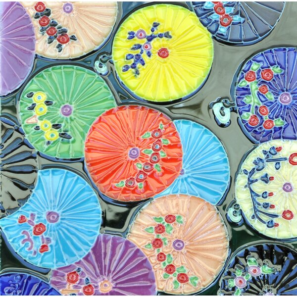Colorful Umbrellas Tile Wall Decor by Continental Art Center
