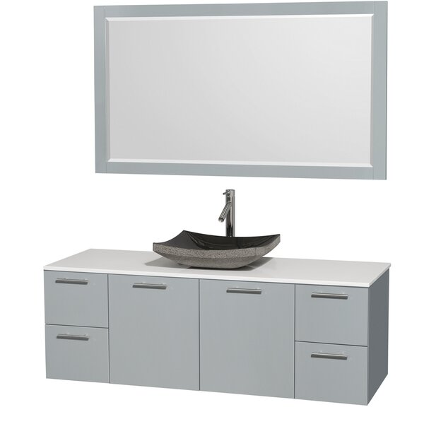 Amare 60 Single Dove Gray Bathroom Vanity Set with Mirror by Wyndham Collection