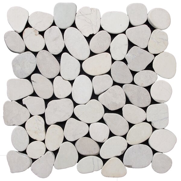 12 x 12 Natural Stone Pebble Tile in Off White by Pebble Tile
