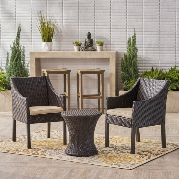Henthorn 3 Piece Seating Group with Cushions by Wrought Studio