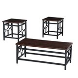 Chriswell Wood and Metal 3 Piece Coffee Table Set by Red Barrel Studio®