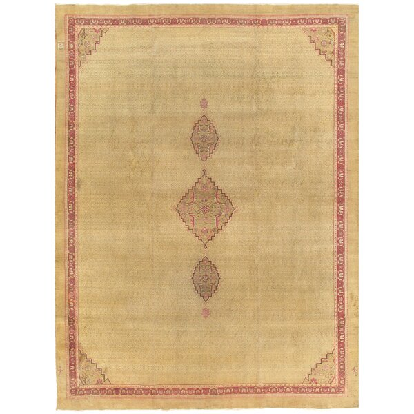 Amritsar Antique Hand Knotted Wool Camel/Burgundy Area Rug by Pasargad