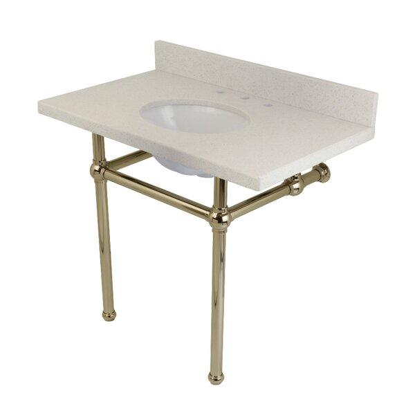 Templeton White Quartz Rectangular Undermount Bathroom Sink with Overflow by Kingston Brass