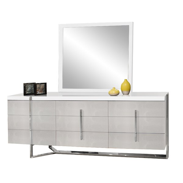 Ashmore 9 Drawer Double Dresser with Mirror by Orren Ellis