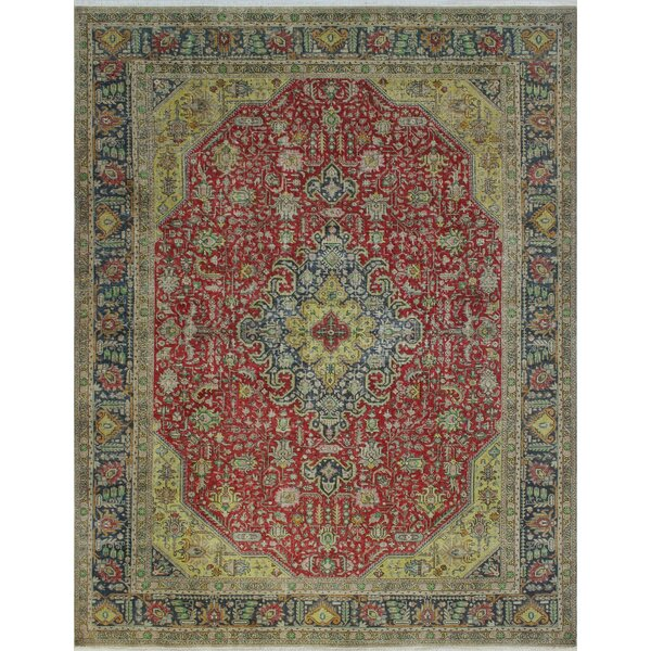 Carolwood Vintage Distressed Overdyed Hand Knotted Wool Red Area Rug by Bloomsbury Market