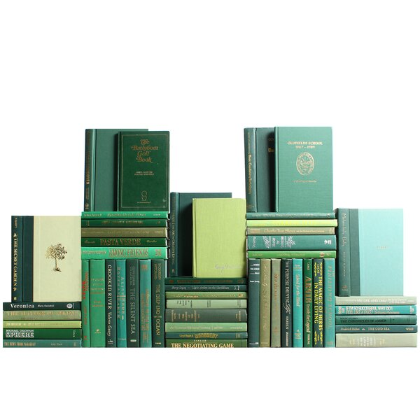 Authentic Decorative Books - By Color Modern Boxwood Book Wall, Set of 50 (5 Linear Feet) by Booth & Williams