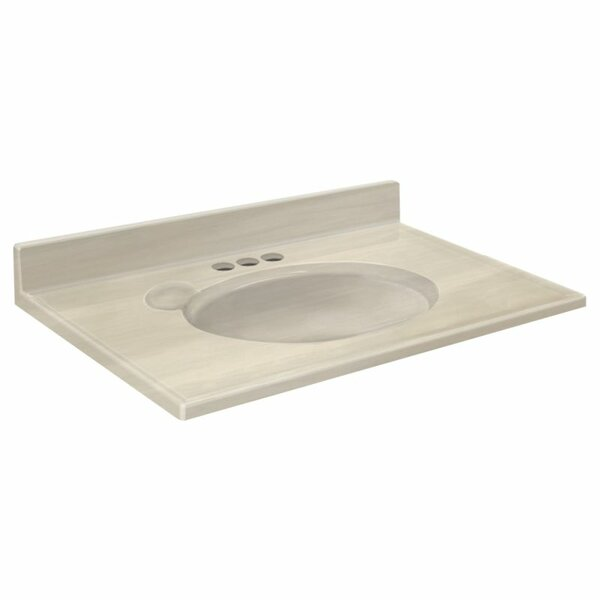 Transolid 1409-7321 37-in x 19-in Cultured Marble Bathroom Vanity Top in White on White