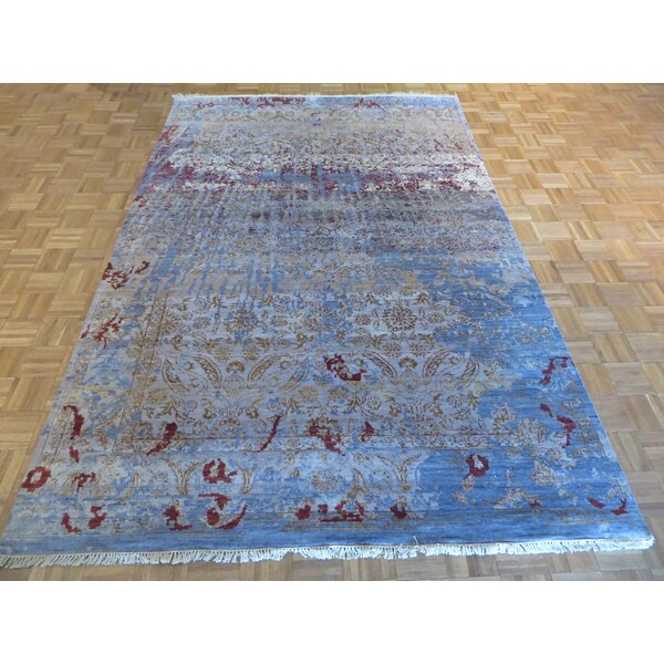 One-of-a-Kind Pellegrino Modern Hand-Knotted Wool Sky Blue Area Rug by Bloomsbury Market