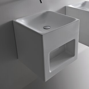 Read Reviews Cento Ceramic 18 Wall Mount Bathroom Sink By WS Bath Collections