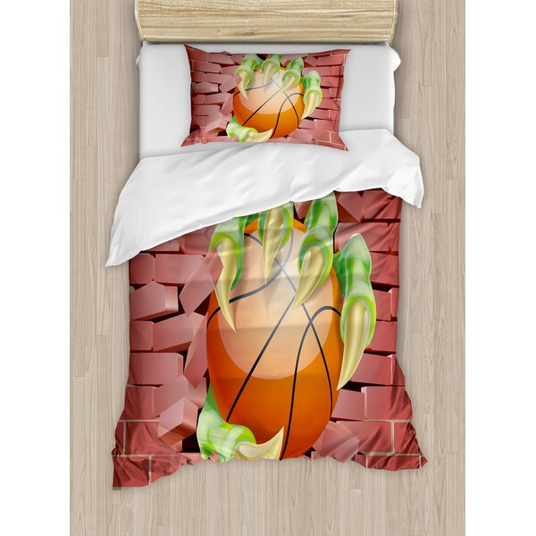 Claw Beast Monster Hand out Holds Basketball Ball through Brick Wall Paint Duvet Set by Ambesonne