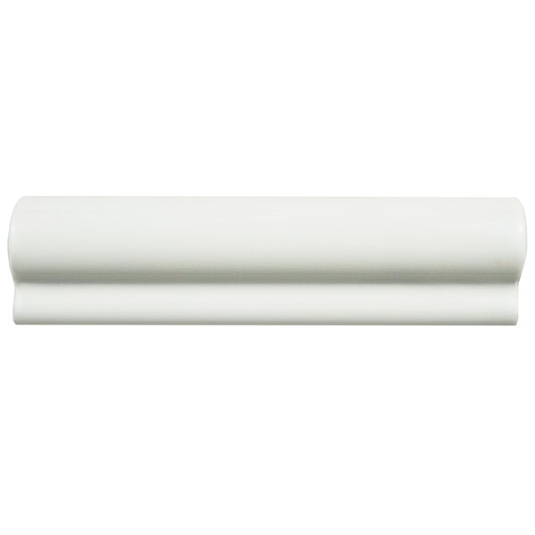 Thira 2 x 7.88 Ceramic Chair Rail Tile in Blanco by EliteTile