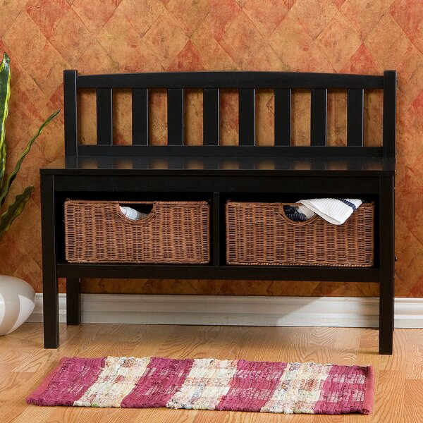 Offerman Wood Storage Bench with Rattan Baskets by Beachcrest Home