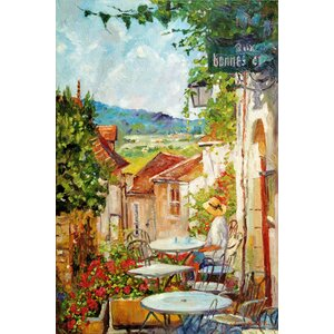 'Provence Café Morning' by David Lloyd Glover Painting Print on Wrapped Canvas by Buy Art For Less