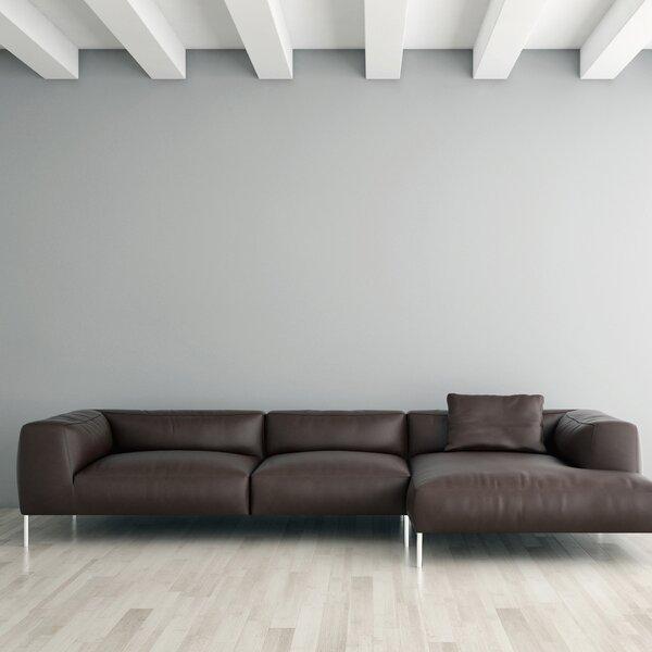 Velia Leather Sectional by Orren Ellis