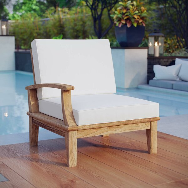 Teak Patio Chair with Cushions by Beachcrest Home