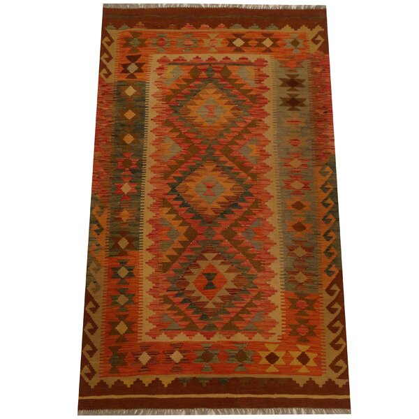 Kilim Hand-Woven Red/Gold Area Rug by Herat Oriental