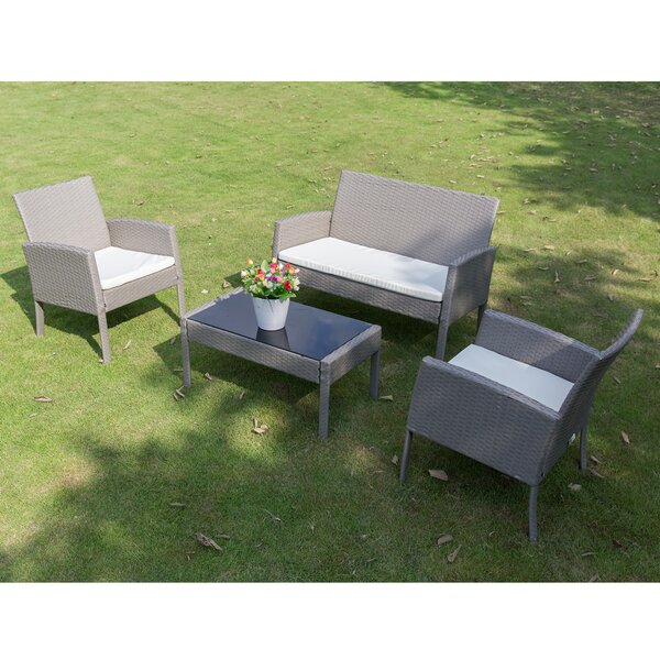 Lilley Garden Lawn Outdoor 4 Piece Rattan Sofa Seating Group with Cushions by Rosecliff Heights