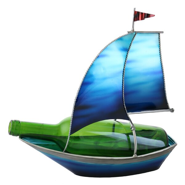 Tandy Blue Sailboat with Flag 1 Bottle Tabletop Wine Rack by Wine Bodies