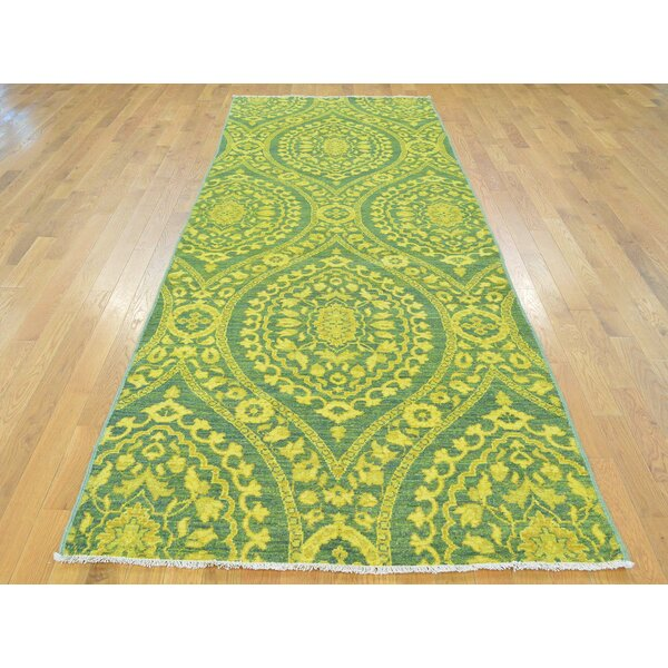 One-of-a-Kind Beaumont Overdyed Handwoven Yellow Wool Area Rug by Isabelline