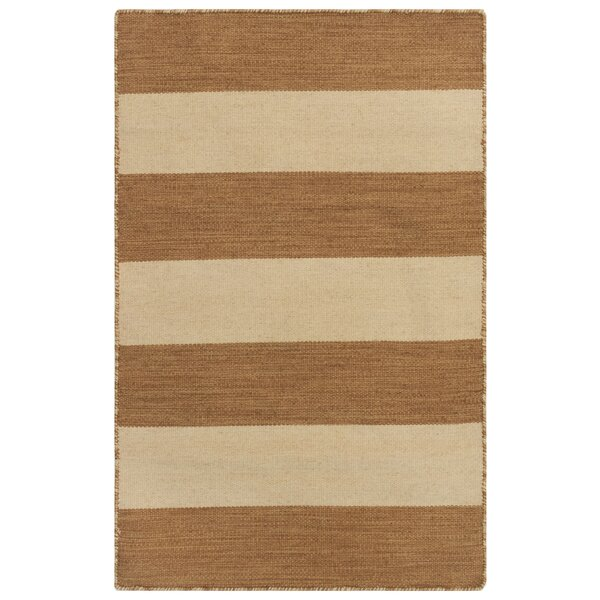 Ranier Rugby Stripe Handwoven Flatweave Brown/Beige Indoor/Outdoor Area Rug by Beachcrest Home